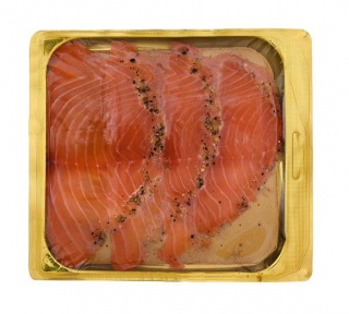 Marinated salmon with pepper, sliced