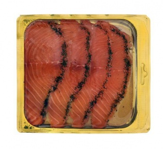 Marinated salmon with dill, sliced